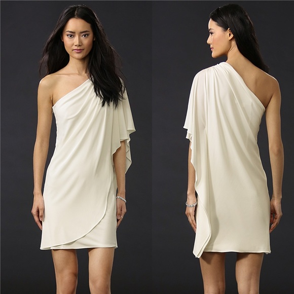 Badgley Mischka Dresses & Skirts - Badgley Mischka One shoulder White Mini Dress